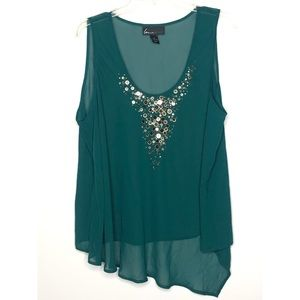 Lane Bryant sheer green beaded asymmetrical tank
